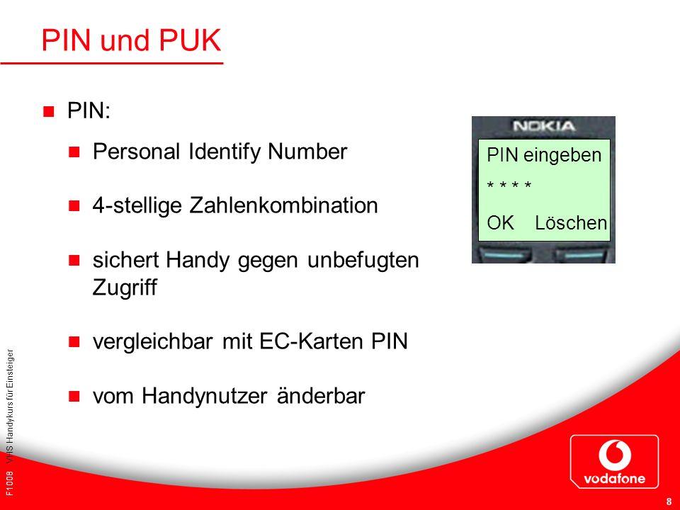 PIN und PUK PIN: Personal Identify Number 4-stellige Zahlenkombination