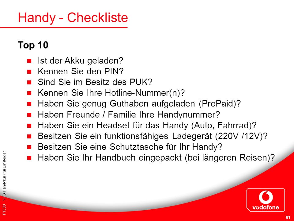 Handy - Checkliste Top 10 Ist der Akku geladen Kennen Sie den PIN