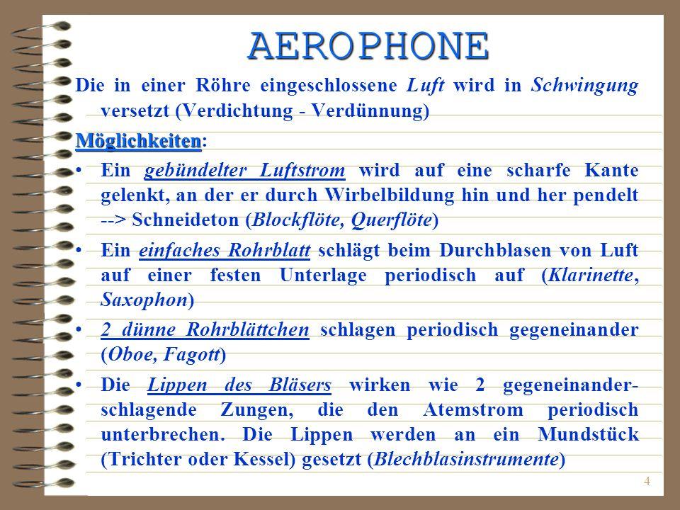 AEROPHONE Die in einer Röhre eingeschlossene Luft wird in Schwingung versetzt (Verdichtung - Verdünnung)