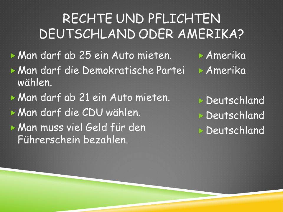 Rechte und Pflichten Deutschland oder amerika