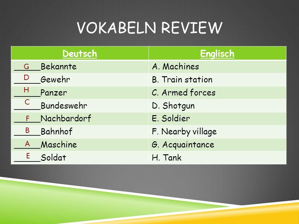Vokabeln Review Deutsch Englisch _____Bekannte A. Machines _____Gewehr