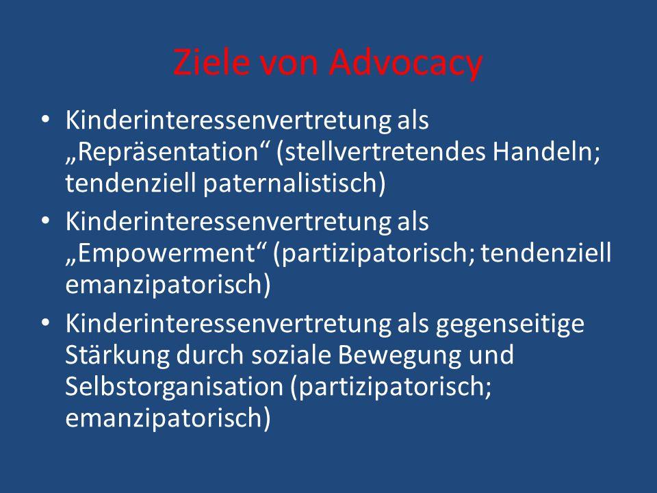 """Ziele von Advocacy Kinderinteressenvertretung als """"Repräsentation (stellvertretendes Handeln; tendenziell paternalistisch)"""