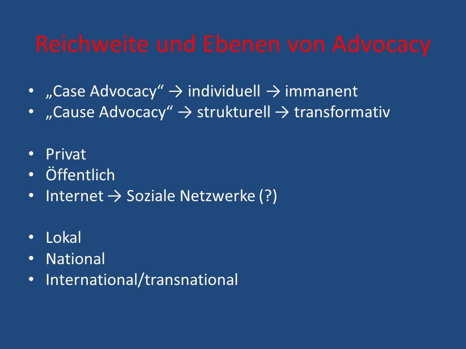 Reichweite und Ebenen von Advocacy