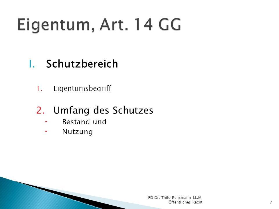 Eigentum, Art. 14 GG Schutzbereich Umfang des Schutzes Bestand und