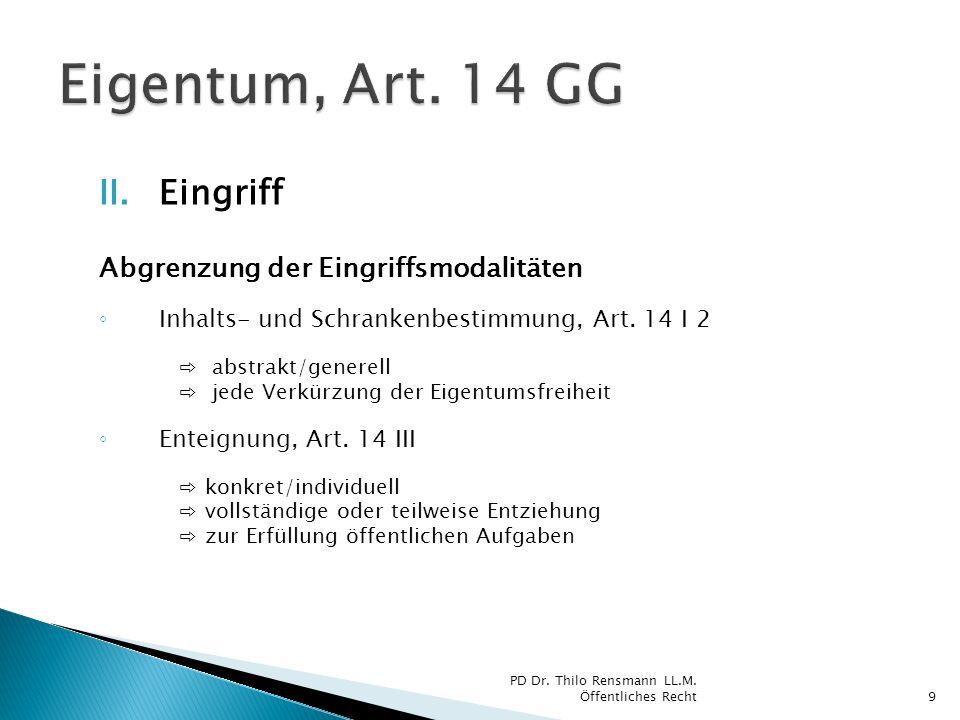 Eigentum, Art. 14 GG Eingriff Abgrenzung der Eingriffsmodalitäten