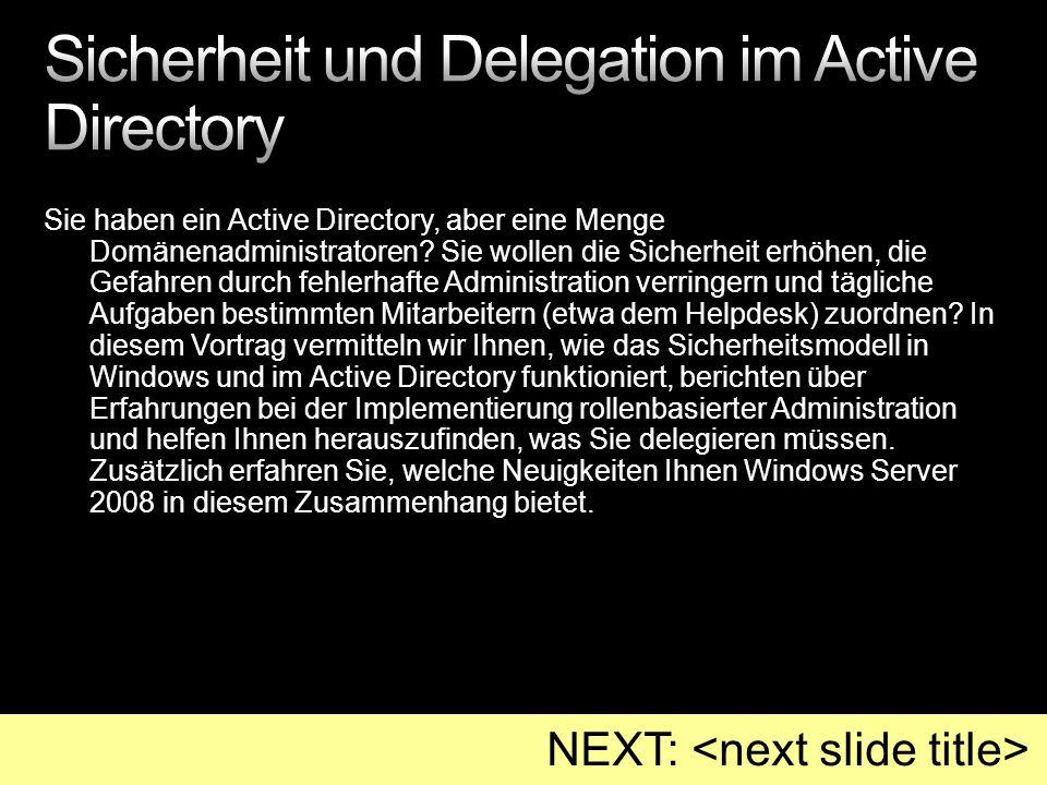 Sicherheit und Delegation im Active Directory
