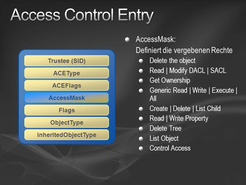 Access Control Entry AccessMask: Definiert die vergebenen Rechte