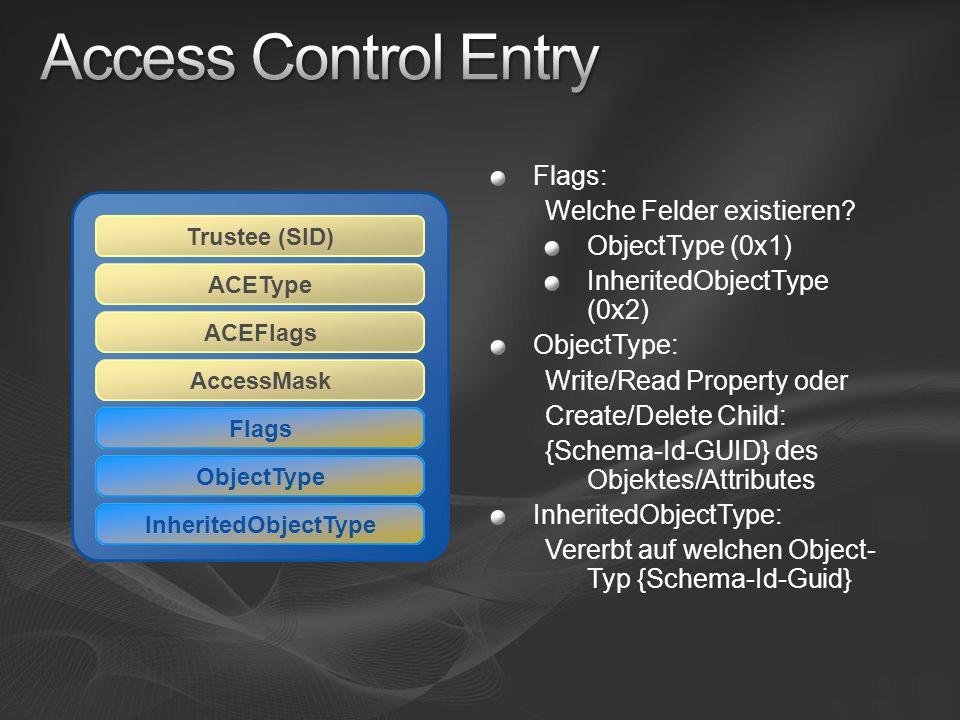 Access Control Entry Flags: Welche Felder existieren ObjectType (0x1)