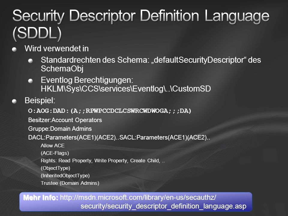 Security Descriptor Definition Language (SDDL)