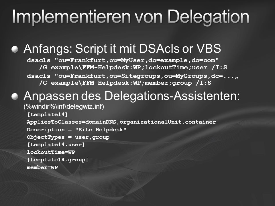 Implementieren von Delegation