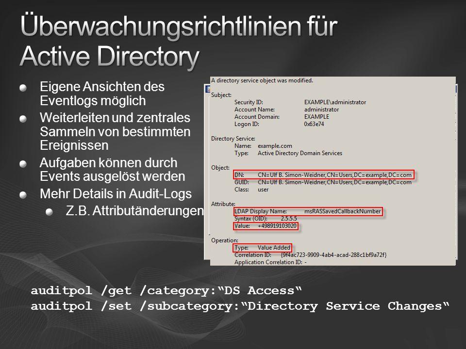 Überwachungsrichtlinien für Active Directory