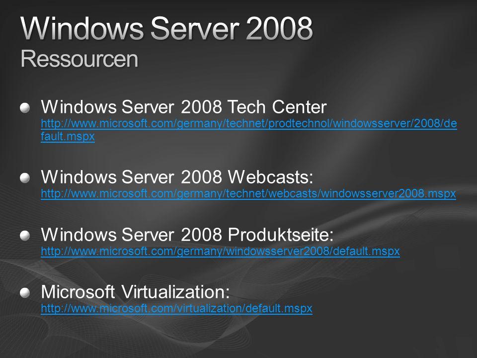 Windows Server 2008 Ressourcen