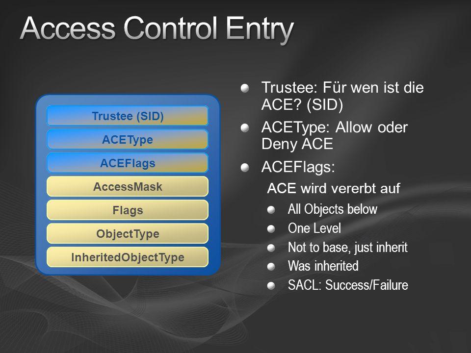 Access Control Entry Trustee: Für wen ist die ACE (SID)