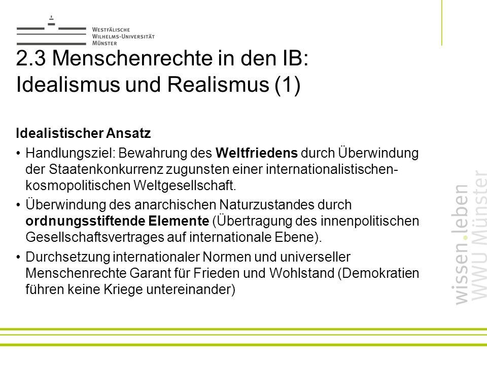 2.3 Menschenrechte in den IB: Idealismus und Realismus (1)