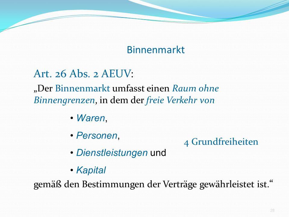 Binnenmarkt Art. 26 Abs. 2 AEUV: