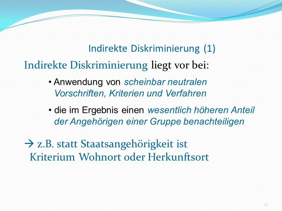 Indirekte Diskriminierung (1)