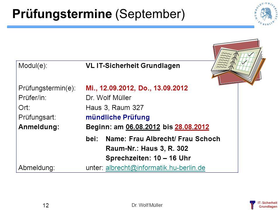 Prüfungstermine (September)