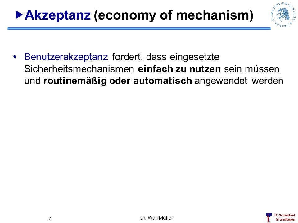 Akzeptanz (economy of mechanism)