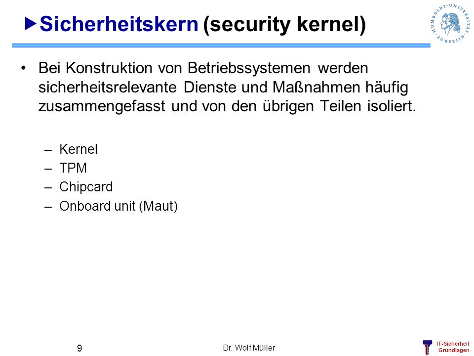 Sicherheitskern (security kernel)
