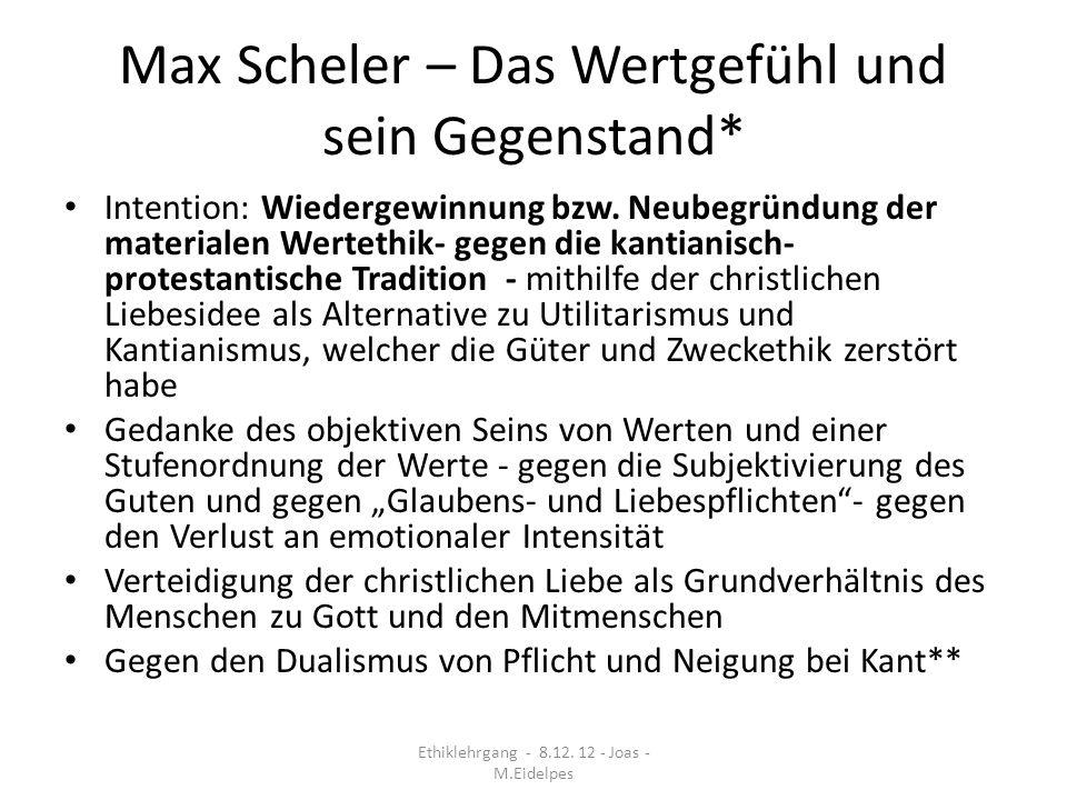 Max Scheler – Das Wertgefühl und sein Gegenstand*