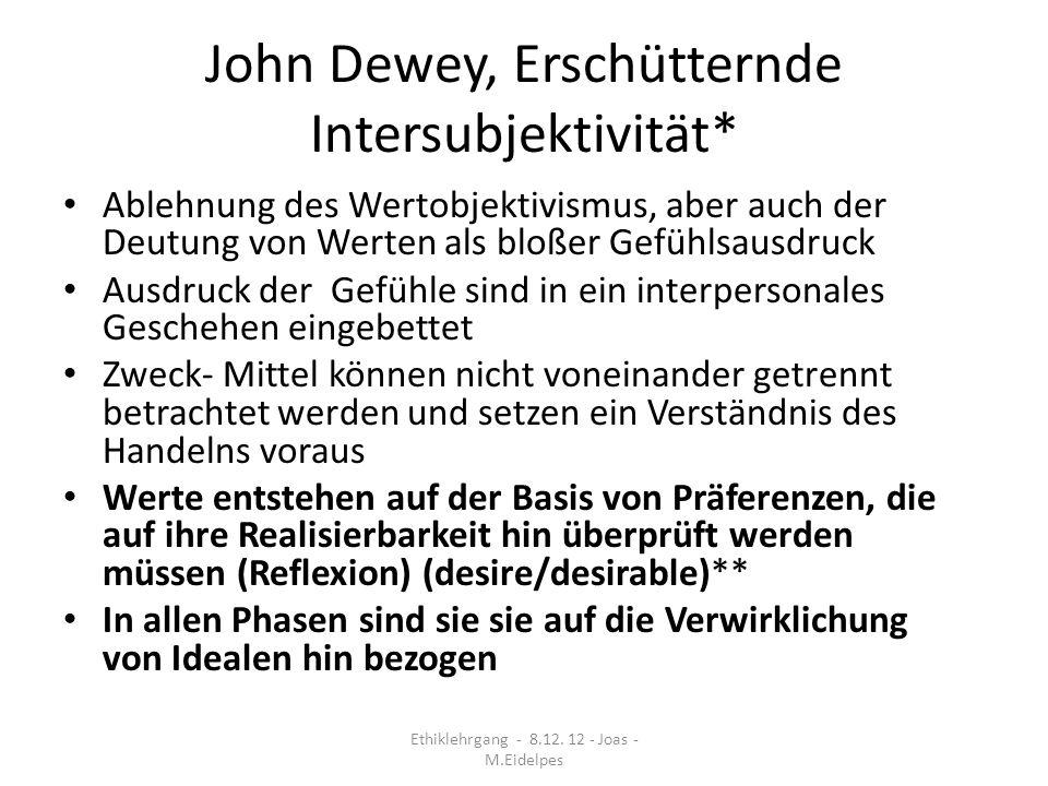 John Dewey, Erschütternde Intersubjektivität*