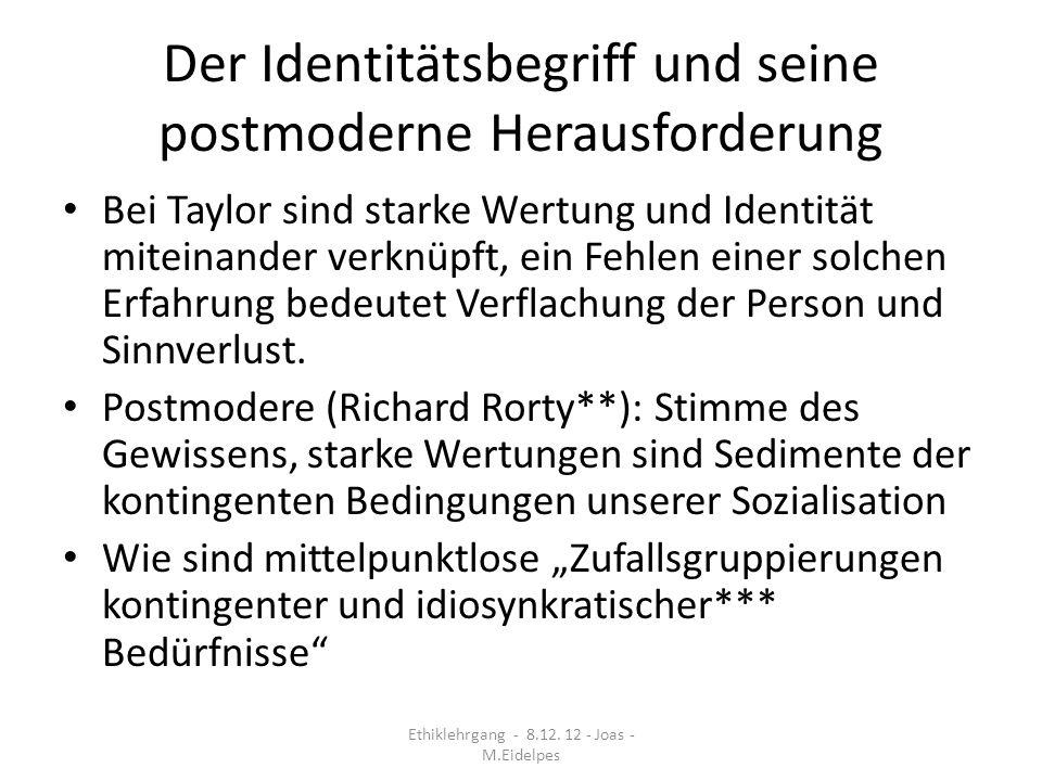 Der Identitätsbegriff und seine postmoderne Herausforderung