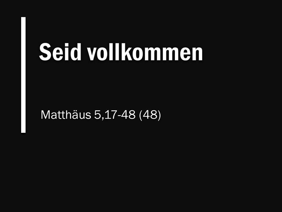 Seid vollkommen Matthäus 5,17-48 (48)