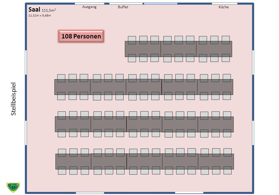 Saal 111,5m2 108 Personen Stellbeispiel Küche Ausgang Buffet