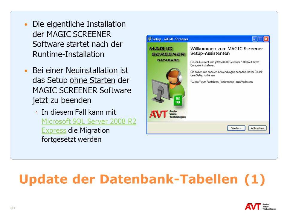 Update der Datenbank-Tabellen (1)