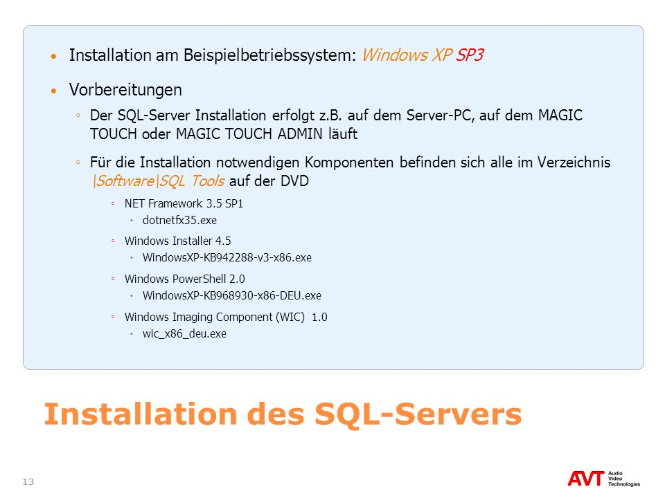 Installation des SQL-Servers