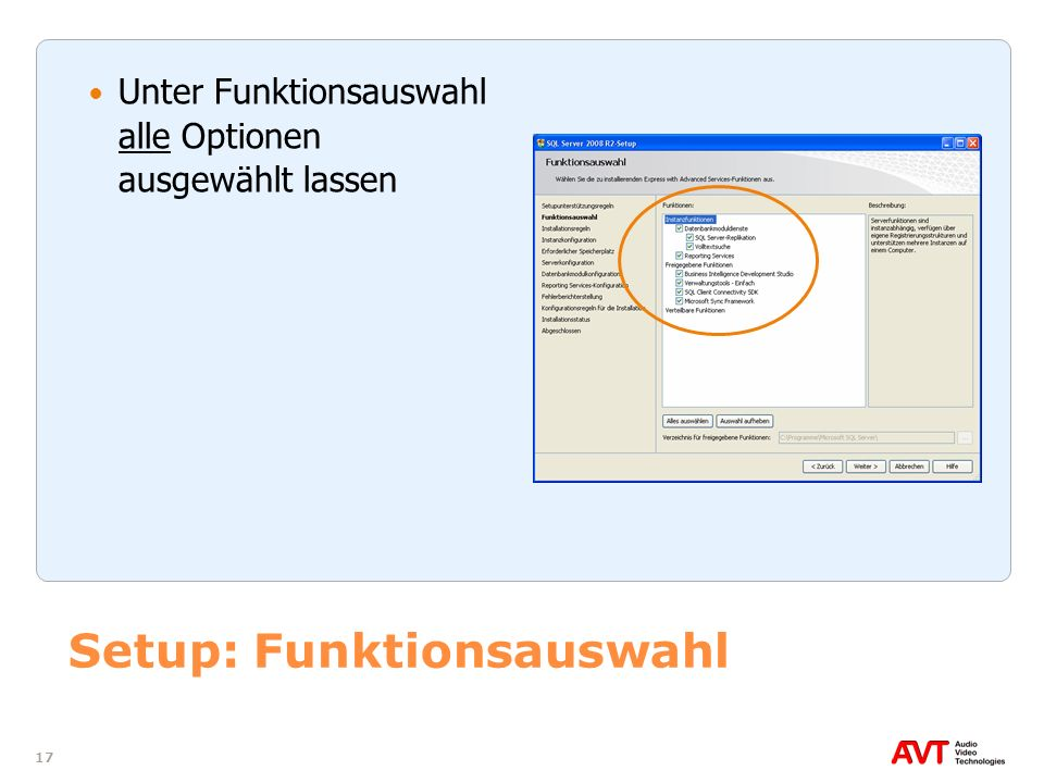 Setup: Funktionsauswahl