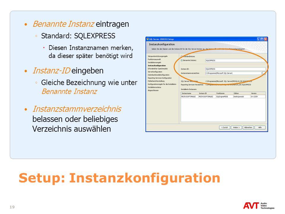 Setup: Instanzkonfiguration