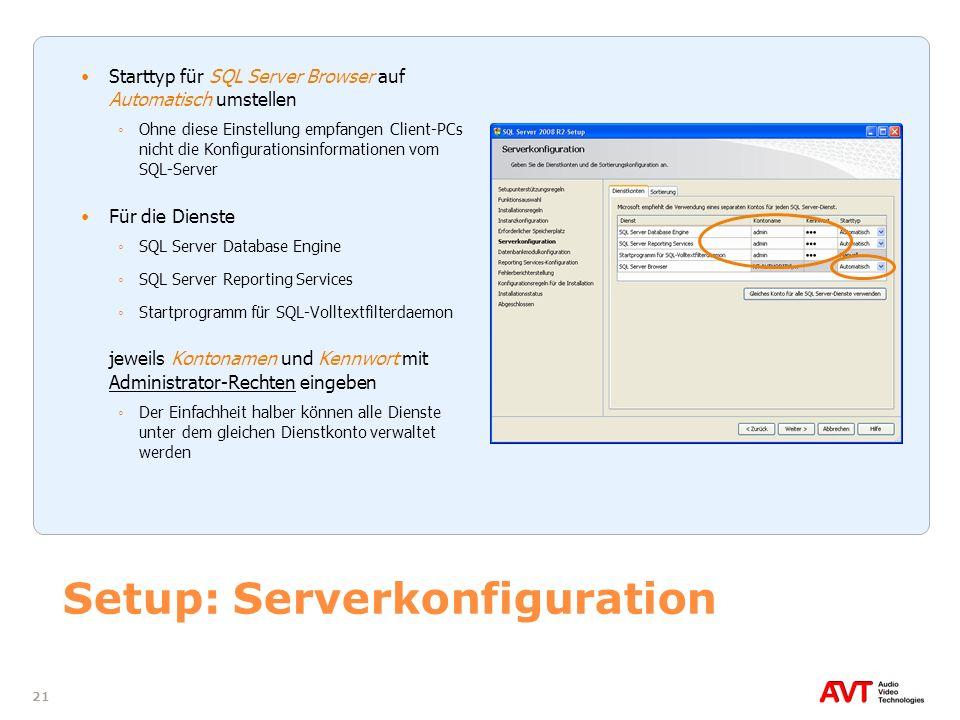 Setup: Serverkonfiguration