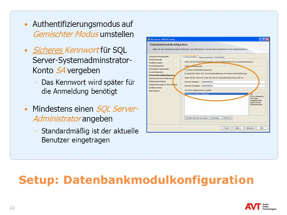 Setup: Datenbankmodulkonfiguration