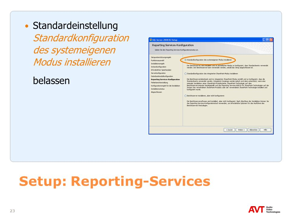 Setup: Reporting-Services