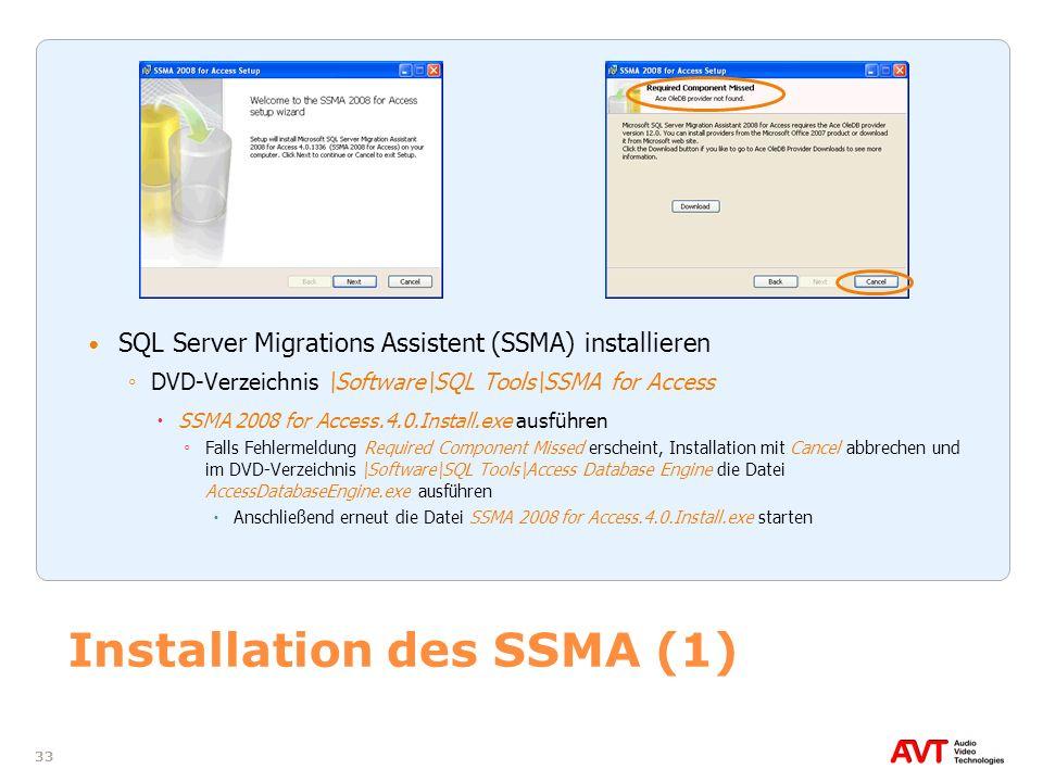 Installation des SSMA (1)