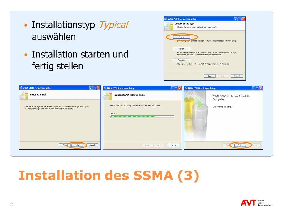 Installation des SSMA (3)