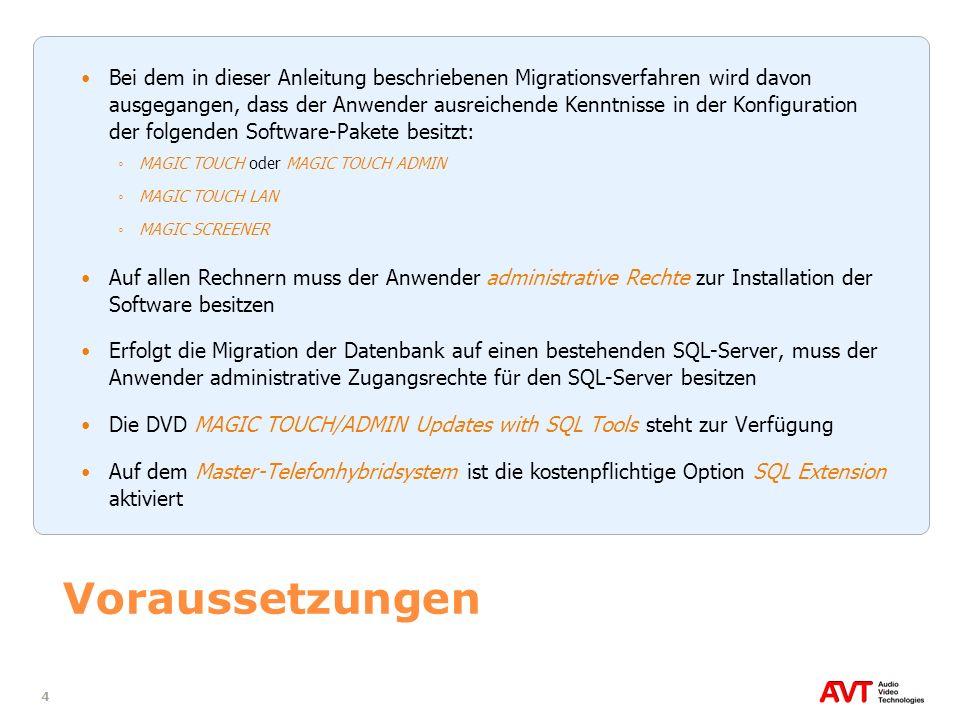 Bei dem in dieser Anleitung beschriebenen Migrationsverfahren wird davon ausgegangen, dass der Anwender ausreichende Kenntnisse in der Konfiguration der folgenden Software-Pakete besitzt: