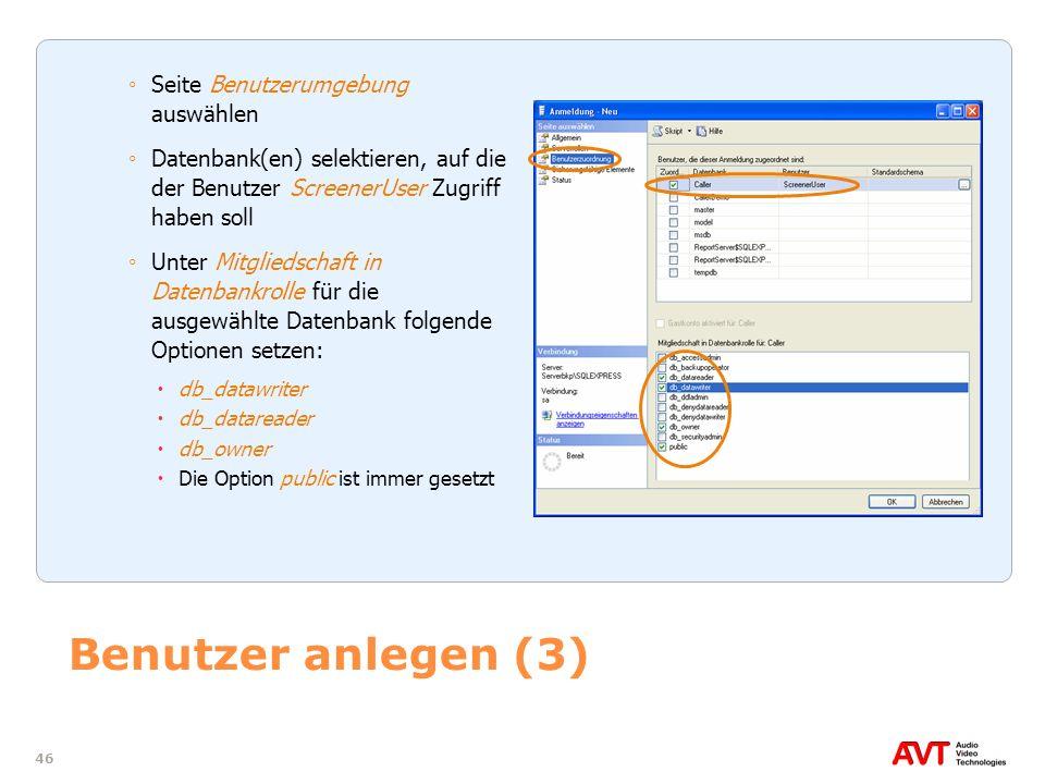 Benutzer anlegen (3) Seite Benutzerumgebung auswählen