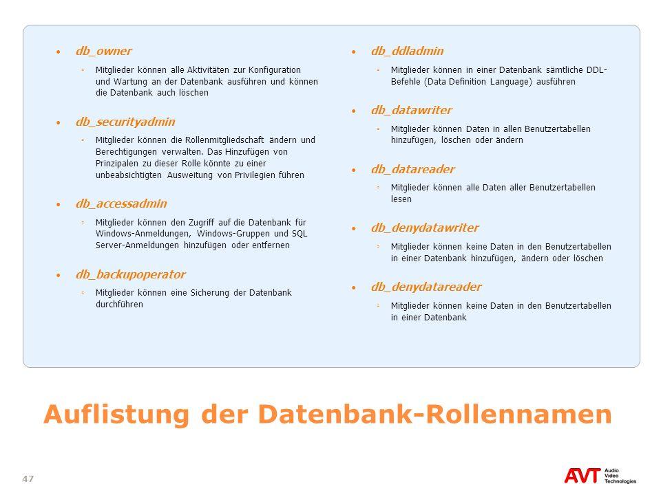 Auflistung der Datenbank-Rollennamen