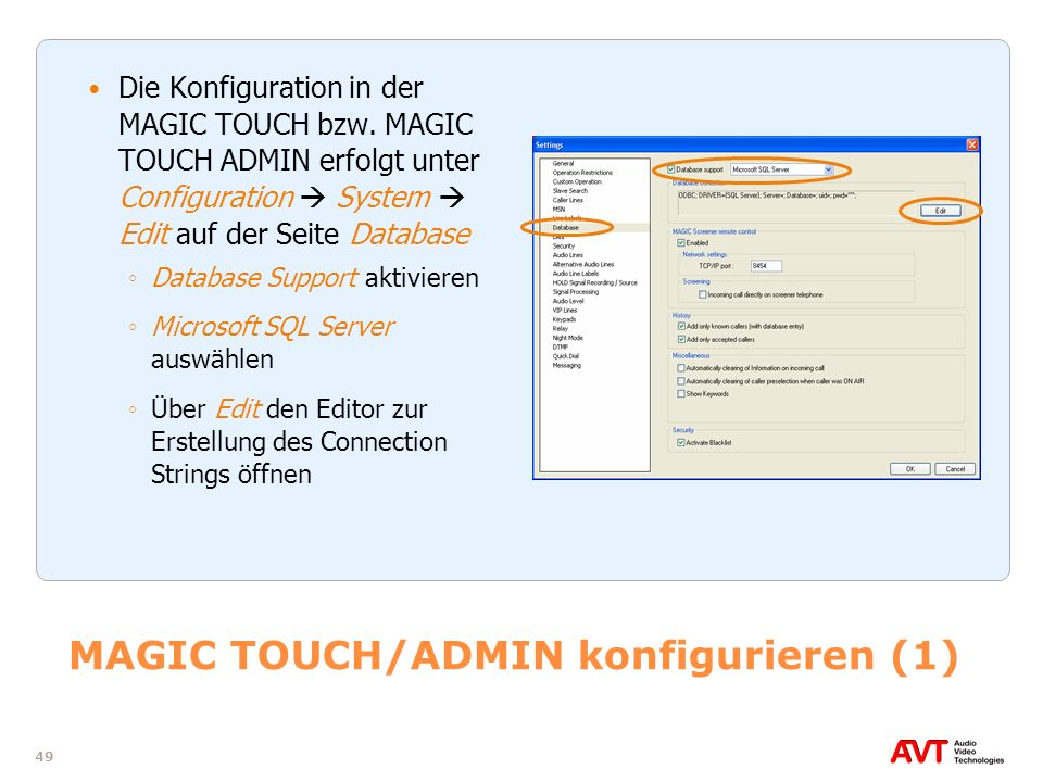 MAGIC TOUCH/ADMIN konfigurieren (1)