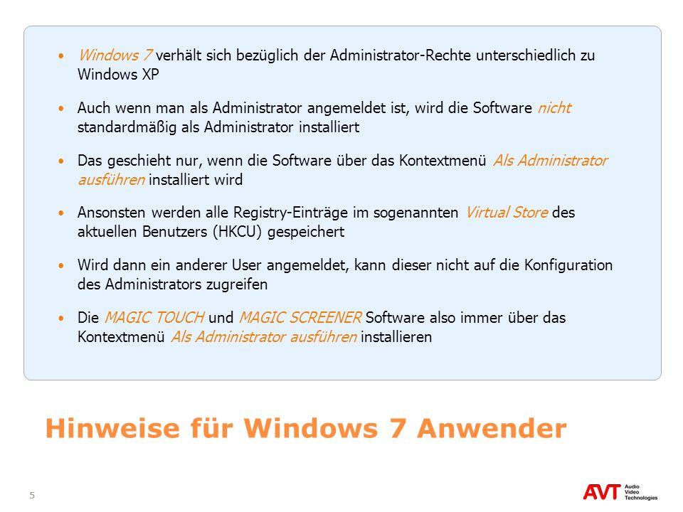 Hinweise für Windows 7 Anwender