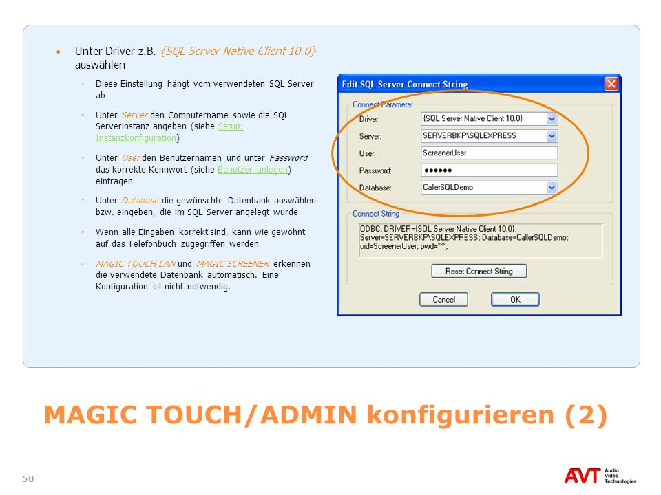 MAGIC TOUCH/ADMIN konfigurieren (2)