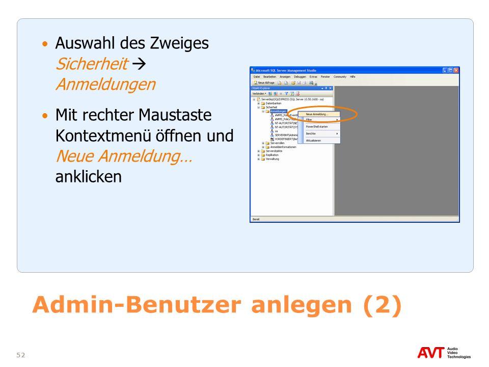 Admin-Benutzer anlegen (2)
