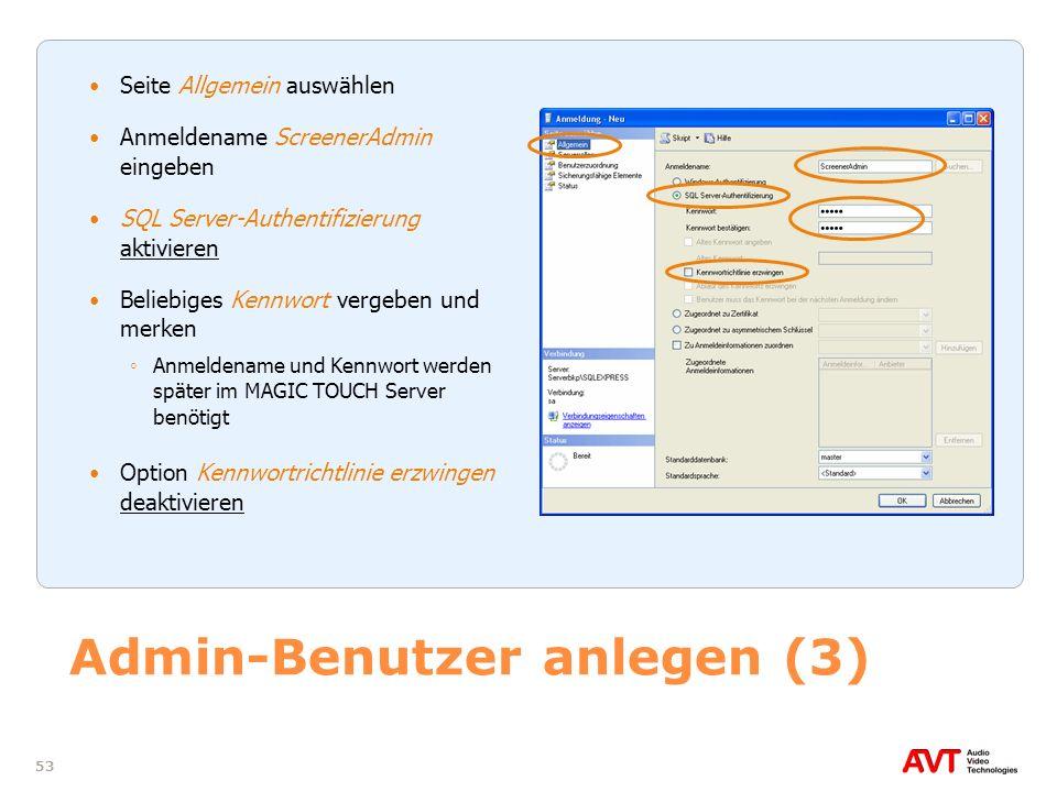 Admin-Benutzer anlegen (3)