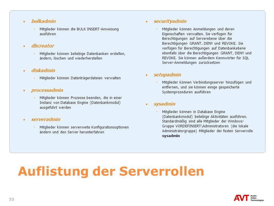Auflistung der Serverrollen