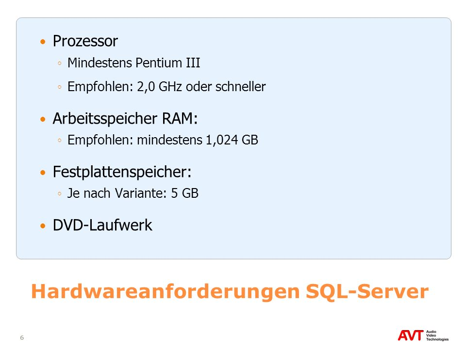 Hardwareanforderungen SQL-Server