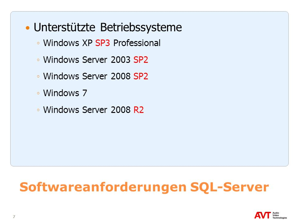 Softwareanforderungen SQL-Server