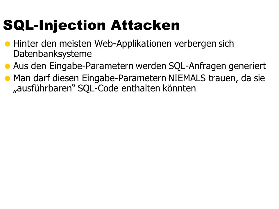 SQL-Injection Attacken
