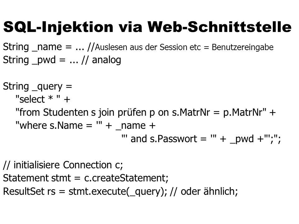 SQL-Injektion via Web-Schnittstelle